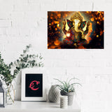 eCraftIndia Lord Ganesha Design Self Adhesive Sparkle Coated Painting without frame