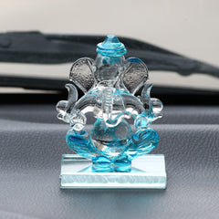 CRGGCAR521_BL-eCraftIndia-SKyblue-and-Transparent-Double-Sided-Crystal-Car-Ganesha-Showpiece_1