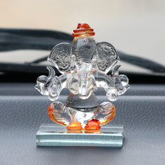 CRGGCAR521_OR-eCraftIndia-Orange-and-Transparent-Double-Sided-Crystal-Car-Ganesha-Showpiece_1