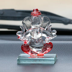 CRGGCAR521_RD-eCraftIndia-Red-and-Transparent-Double-Sided-Crystal-Car-Ganesha-Showpiece_1