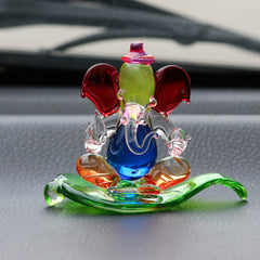CRGGCAR522_RD-eCraftIndia-Multicolored-and-Transparent-Double-Sided-Crystal-Car-Paan-Ganesha-Showpiece_1