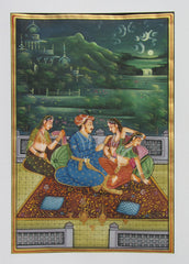 EPHB03-eCraftIndia-Mughal-Emperor-in-Conversation-with-His-Queen-Original-Art-Silk-Painting_1