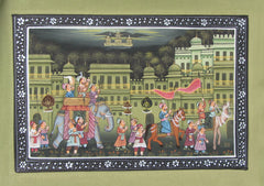 EPHB55-eCraftIndia-Royal-Troop-Mughal-Painting-Original-Art-Silk-Painting_1