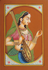 EPHB61-eCraftIndia-Bani-Thani-with-Sitar-Original-Art-Paper-Painting_1
