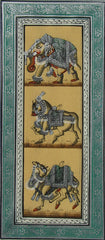 EPHB63-eCraftIndia-Elephant,-Horse-and-Camel-Original-Art-Silk-Painting_1