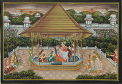 EPHB80-eCraftIndia-Royal-Courtyard-Scene-Original-Art-Silk-Painting_1