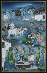 EPS101-eCraftIndia-Daytime-Village-Scene-Original-Art-Silk-Painting_1