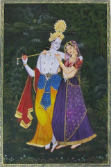 EPS104-eCraftIndia-Radha-Krishna-playing-Flute-Original-Art-Silk-Painting_1
