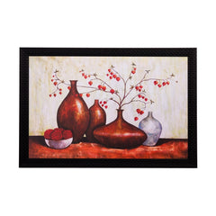 ecraftindia-brown-vases-and-leaves-matt-textured-uv-art-painting_1