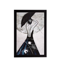 ecraftindia-black-white-girl-matt-textured-uv-art-painting_1