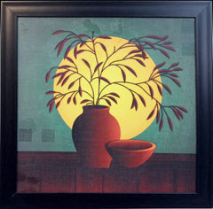 ecraftindia-abstract-pot-and-leaves-theme-satin-matt-texture-uv-art-painting_1