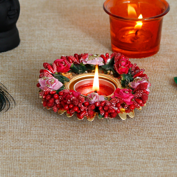 ecraftindia-decorative-handcrafted-red-and-pink-floral-tea-light-holder_1