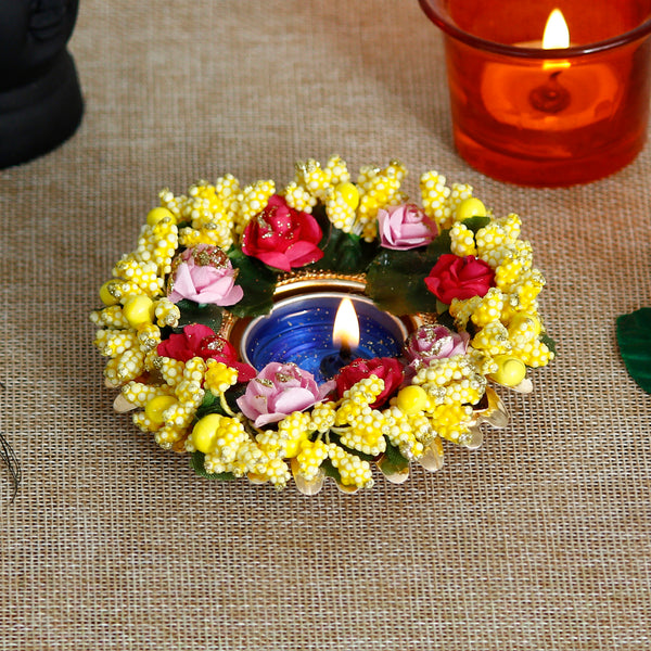 ecraftindia-decorative-handcrafted-yellow-floral-tea-light-holder_1
