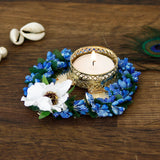 ecraftindia-decorative-handcrafted-blue-floral-leaf-shape-tea-light-holder_2