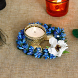 ecraftindia-decorative-handcrafted-blue-floral-leaf-shape-tea-light-holder_1
