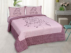 eCraftIndia 180 TC Pure Cotton Premium Double Bed King Size Bedsheet (100In x 108 In) with 2 pillow cover - Pink