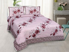 eCraftIndia 180 TC Pure Cotton Premium Double Bed King Size Floral Bedsheet (100In x 108 In) with 2 pillow cover - Pink
