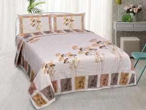 eCraftIndia 180 TC Pure Cotton Premium Double Bed King Size Floral Design Bedsheet (100In x 108 In) with 2 pillow cover - Yellow and Orange