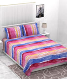 eCraftIndia 144 TC Pure Cotton Premium Double Bed Abstract Design Bedsheet (90In x 108 In) with 2 pillow cover - Pink