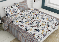 eCraftIndia 144 TC Pure Cotton Premium Floral and Bird Print Double Bed Bedsheet (90In x 108 In) with 2 pillow cover - Black
