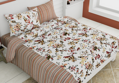 eCraftIndia 144 TC Pure Cotton Premium Floral and Bird Print Double Bed Bedsheet (90In x 108 In) with 2 pillow cover - Orange