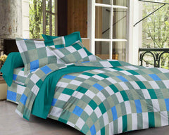 ecraftindia-144-tc-pure-cotton-checkered-print-double-bed-bedsheet-(90-in-x-108-in)-with-2-pillow-cover-green_1