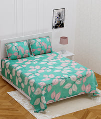 ecraftindia-140-tc-glace-cotton-double-bed-green-and-pink-leafs-design-bedsheet-(90-in-x-100-in)-with-2-pillow-cover_1