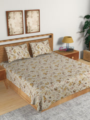 ecraftindia-210-tc-pure-cotton-premium-double-bed-king-size-birds-and-floral-design-bedsheet-(100-in-x-108-in)-with-2-pillow-cover-yellow_1