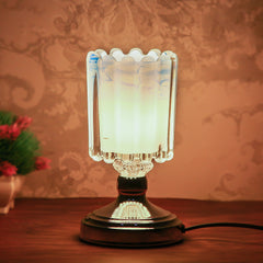 "ICTL9691-eCraftIndia-Designer-Blue-Silver-Solid-Metal-Table-Lamp-For-Bedroom,-Living-Room-20*10-Cm-(4""-x-7.5""-Inch-