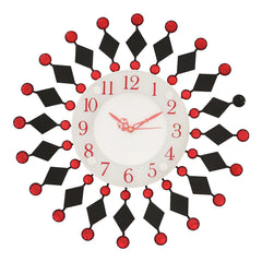 ICW316_RED-eCraftIndia-Wrought-Iron-Diamond-Studded-Red-Round-Wall-Clock_1