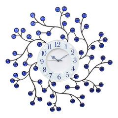 "ICWCV101_Blue-eCraftIndia-White-Dial-Round-Diamond-Iron-Wall-Clock-(23""-x-23""-Inch-