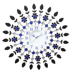 "ICWCV112_Blue-eCraftIndia-Diamond-White-Dial-Round-Blue-Iron-Wall-Clock-(23.5""-x-23.5""-Inch-