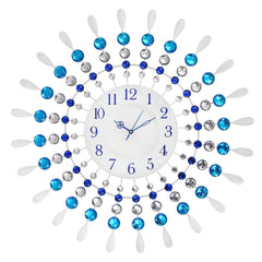 "ICWCV119_Blue-eCraftIndia-White-Dial-Blue-Round-Diamond-Iron-Wall-Clock-(24""-x-24""-Inch-