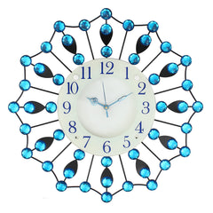 "ICWCV204_Blue-eCraftIndia-White-Dial-Blue-Round-Diamond-Iron-Wall-Clock-(18""-x-18""-Inch-