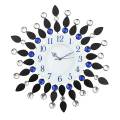 "ICWCV205_Blue-eCraftIndia-White-Dial-Blue-&-White-Diamond-Iron-Wall-Clock-(19""-x-19""-Inch-
