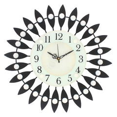 "ICWCV318_BLK-eCraftIndia-White-Dial-Black-Round-Diamond-Iron-Wall-Clock-(14.5""-x-14.5""-Inch-