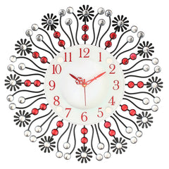 "ICWCV320_RD-eCraftIndia-White-&-Red-Diamond-Red-Iron-Wall-Clock-(14.5""-x-14.5""-Inch-
