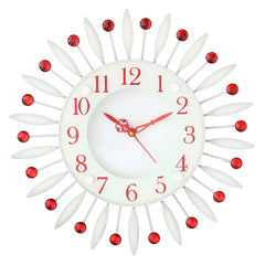"ICWCV412_RD-eCraftIndia-Red-Diamond-Round-Iron-Wall-Clock-(12.5""-x-12.5""-Inch-