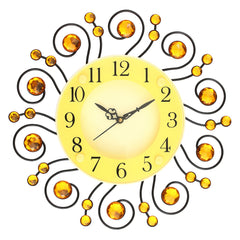 "ICWCV418_YLW-eCraftIndia-Yellow-Diamond-Round-Iron-Wall-Clock-(12.5""-x-12.5""-Inch-