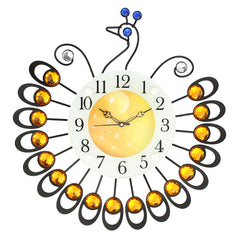 "ICWCV806_YLW-eCraftIndia-Yellow-Diamond-Round-Peacock-Iron-Wall-Clock-(14.5""-x-15""-Inch-