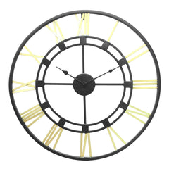 "ICWHB0013-eCraftIndia-Golden-Black-Round-Iron-Wall-Clock-(24""-x-24""-Inch-
