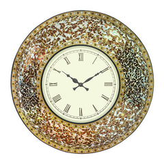 "ICWHB1252-eCraftIndia-Iron-Mosaic-White-Dial-Multicolor-Stone-Round-Wall-Clock-(22.5""-x-22.5""-Inch-