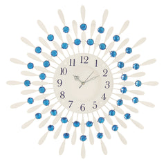 "ICWVC_118_Blue-eCraftIndia-Diamond-Series-Flower-Design-Iron-Wall-Clock-(23""-x-23""-Inch-
