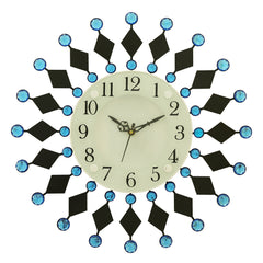 "ICWVC_316_Blue-eCraftIndia-Diamond-Series-Flower-Design-Iron-Wall-Clock-(15""-x-15""-Inch-