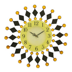 "ICWVC_316_YLW-eCraftIndia-Diamond-Series-Flower-Design-Iron-Wall-Clock-(15""-x-15""-Inch-