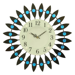 "ICWVC_318_Blue-eCraftIndia-Diamond-Series-Flower-Design-Iron-Wall-Clock-(14""-x-14""-Inch-