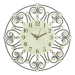 "ICWVC_319_BLK-eCraftIndia-Diamond-Series-Flower-Design-Iron-Wall-Clock-(14""-x-14""-Inch-