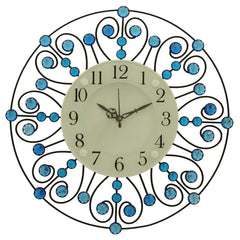 "ICWVC_319_Blue-eCraftIndia-Diamond-Series-Flower-Design-Iron-Wall-Clock-(14""-x-14""-Inch-