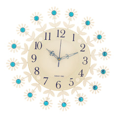 "ICWVC_411_Blue-eCraftIndia-Diamond-Series-Flower-Design-Iron-Wall-Clock-(12""-x-12""-Inch-