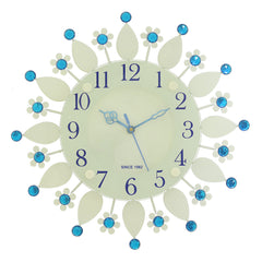 "ICWVC_413_Blue-eCraftIndia-Diamond-Series-Flower-Design-Iron-Wall-Clock-(12""-x-12""-Inch-